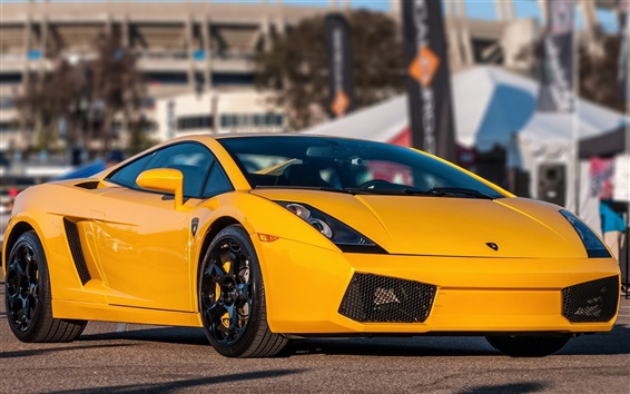 Wallpaper Lamborghini Gallardo yellow supercar front view