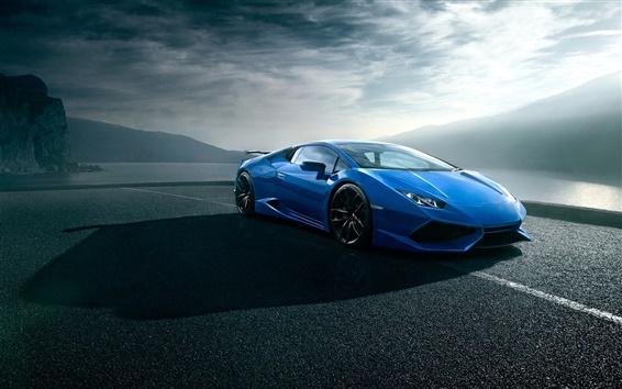 Fondos de pantalla Lamborghini Huracan azul de lujo supercar, camino, nubes