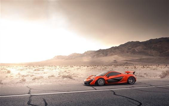 Wallpaper McLaren P1 orange supercar, road, desert, sun