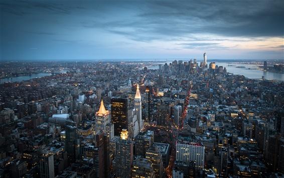 Papéis de Parede New York City, Manhattan, EUA, arranha-céus, prédios, baía, anoitecer