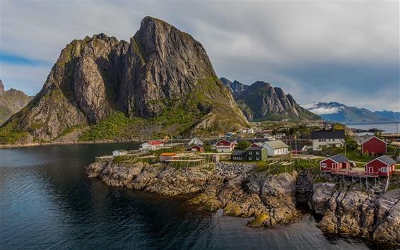Fond d'écran Norvège, les montagnes, la mer, la ville, la baie, les maisons