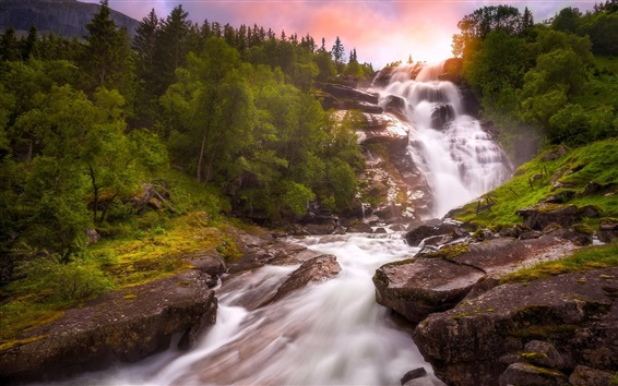 Wallpaper Norway, waterfall, river, trees, sunset
