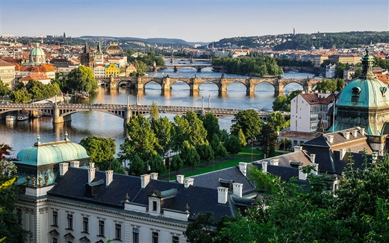 Wallpaper Prague, Czech Republic, city, Vltava river, bridges, houses