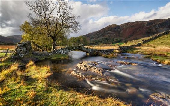 Wallpaper River, bridge, hills, grass, trees, clouds, autumn