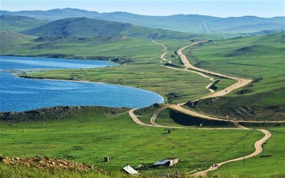 Fond d'écran Russie, le lac Baïkal, champs, prés, les routes