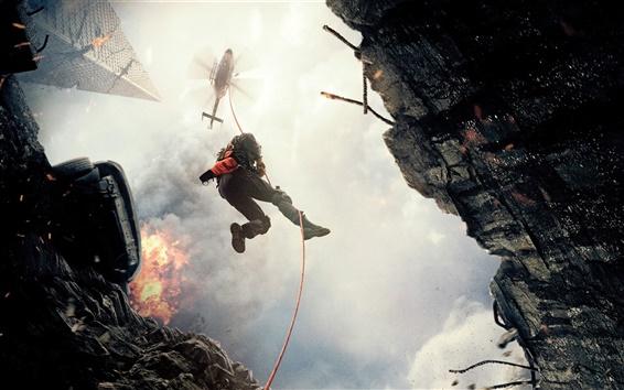 Fondos de pantalla San Andreas, Dwayne Johnson, helicóptero, cuerda