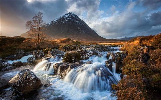 Fond d'écran Coucher de soleil, ciel, nuages, montagne, ruisseau, rochers, automne