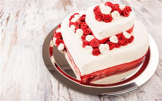 Wallpaper Sweet cake, dessert, roses, love hearts