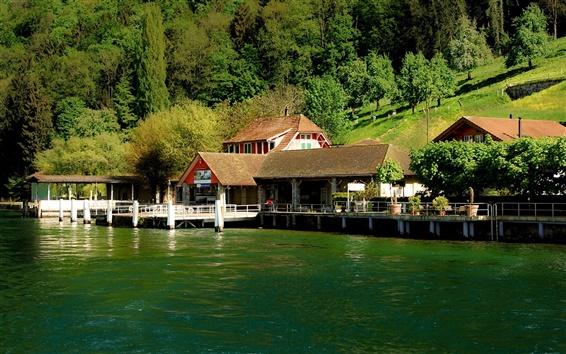 Fond d'écran Suisse, Bürgenstock, le lac de Lucerne, de la jetée, des maisons, de la pente, arbres