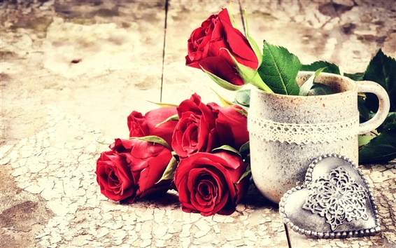 Обои День святого Валентина, красные розы цветы, любовь сердца, чашка