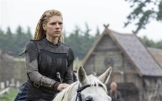 Papéis de Parede Vikings, drama histórico, Katheryn Winnick, cavalo