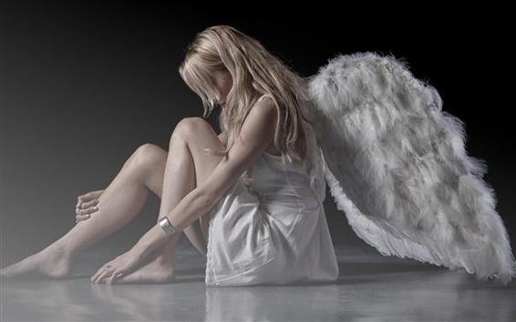 Wallpaper White dress girl, wings, angel
