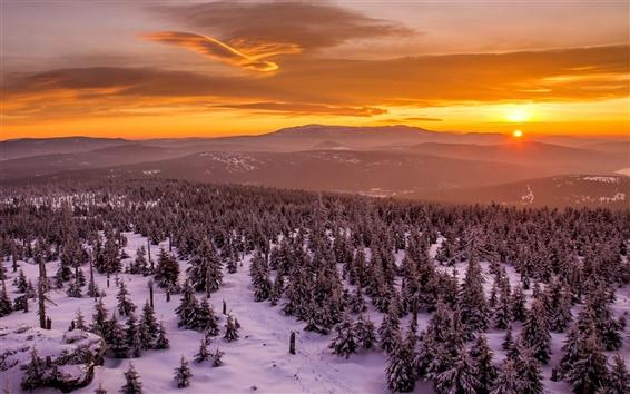 Fondos de pantalla Invierno, puesta del sol, árboles, nieve, montañas, cielo rojo