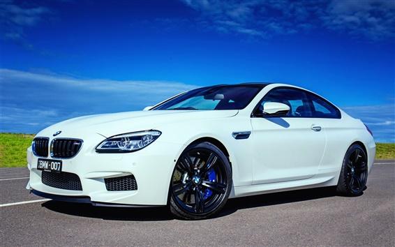 Wallpaper 2015 BMW M6 Coupe F13 white car