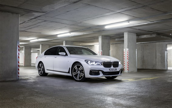 Papéis de Parede 2015 BMW M7 carro batente branco no estacionamento