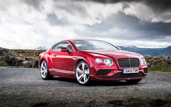 Wallpaper 2015 Bentley Continental GT red supercar