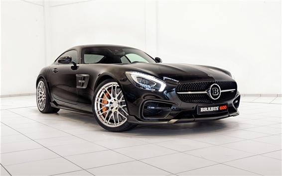 Wallpaper 2015 Brabus Mercedes-Benz GT S C190 black car