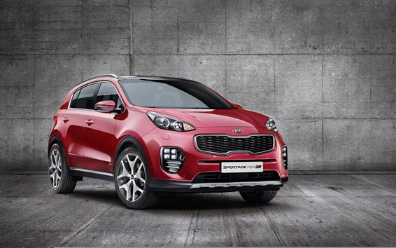 Wallpaper 2015 Kia Sportage red SUV car