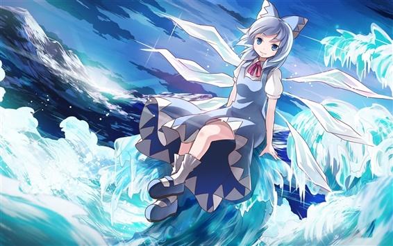 Wallpaper Anime girl smile, crystals, sea