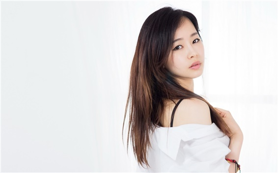 Wallpaper Asian girl, portrait, look back