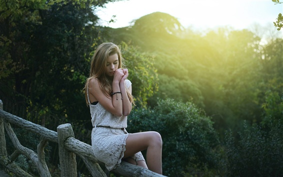 Wallpaper Beautiful blonde girl in dream, sitting at fence, morning