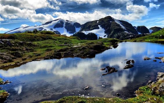 Fond d'écran Belle nature, lac, montagnes, neige, nuages