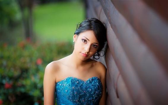 Fond d'écran Robe bleue fille asiatique, visage, cheveux noirs