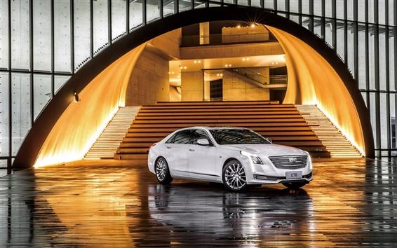 Обои Cadillac CT6 седан, белый автомобиль