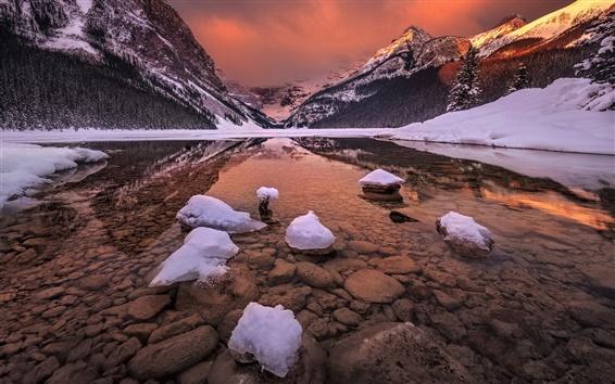 Fond d'écran Canada, Alberta, parc national Banff, montagnes rocheuses, lac glaciaire, la neige