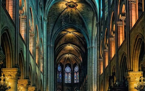 壁紙 大聖堂、ノートルダム、屋内、パリ、フランス