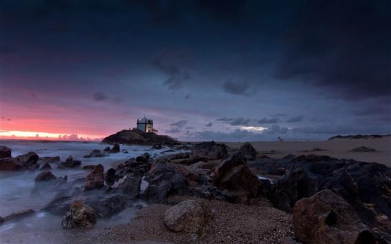 Fond d'écran Côte, mer, plage, rochers, crépuscule, maison