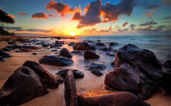 Fondos de pantalla Costa, mar, océano, piedras, salida del sol, nubes, horizonte