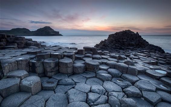 Fond d'écran Côte, mer, des pierres, le lever du soleil