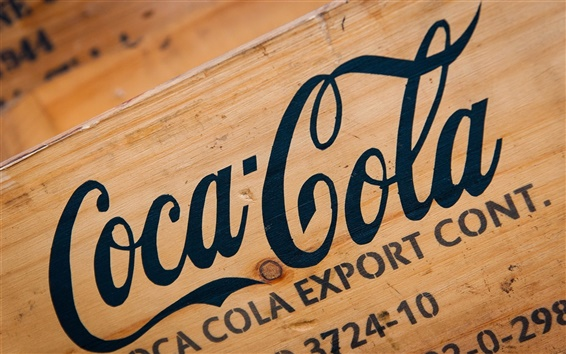 Wallpaper Coca-Cola logo, wood board