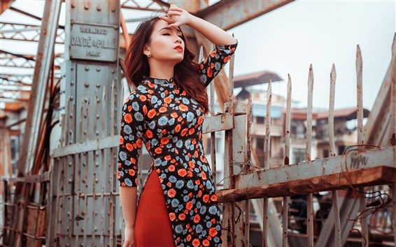 Wallpaper Colorful dress Asian girl, fence