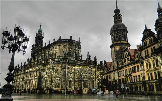 Wallpaper Dresden, Germany, houses, night, rain