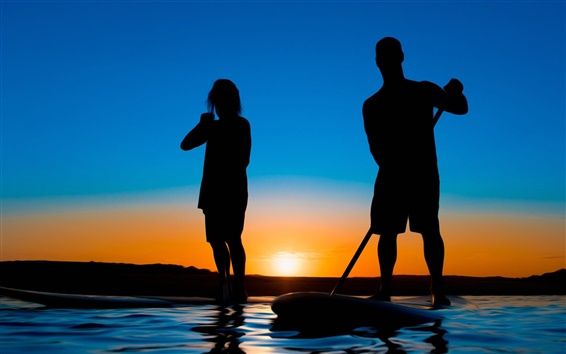 Wallpaper Dusk, sunset, boat, water, people, silhouette