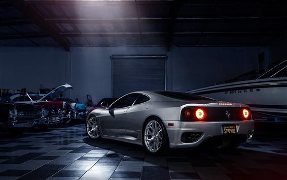 Wallpaper Ferrari 360 silver supercar rear view
