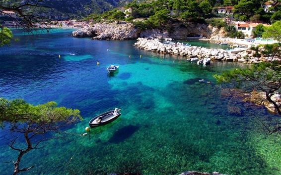 Wallpaper France, Marseille, blue sea, boats, houses, shore