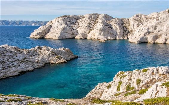 Fond d'écran France, Marseille, côte, mer bleue, pierres