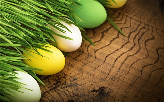 Wallpaper Happy Easter, colorful eggs, grass, spring