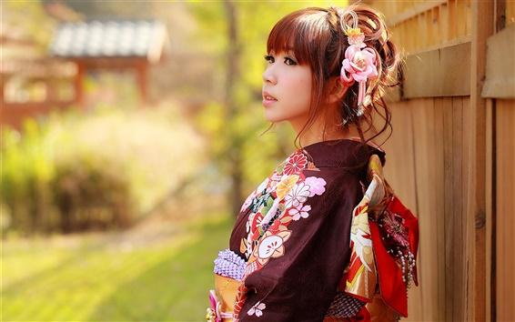 Wallpaper Japanese girl, Asian, kimono clothes