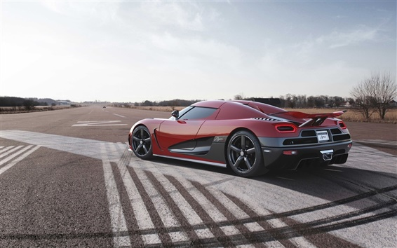 Wallpaper Koenigsegg red supercar, road, sky