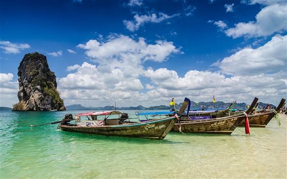 Fond d'écran Krabi, Thaïlande, océan, côte, bateaux, été, nuages