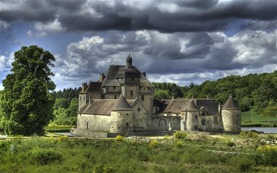 Wallpaper La Sauniere, France, castle, clouds, river, trees