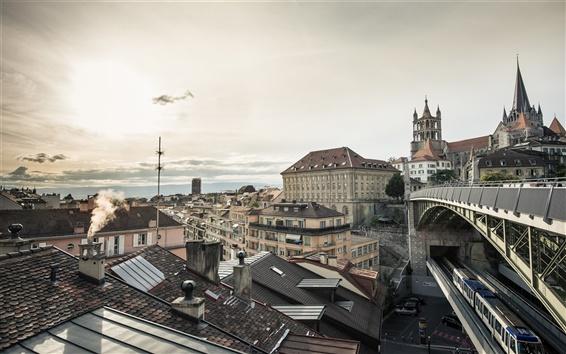 Wallpaper Lausanne, Switzerland, city, houses, train, dusk