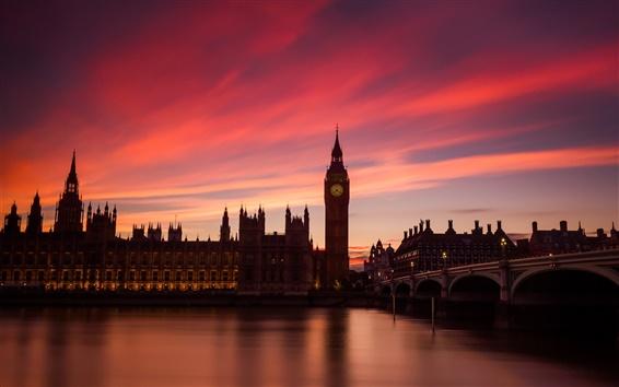 Fond d'écran Londres, Angleterre, rivière Thames, pont, maisons, lumières, coucher de soleil