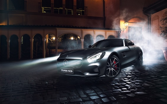 Обои Mercedes-Benz AMG GT S серебряный суперкар, ночь, огни, дым