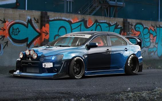 Обои Mitsubishi Lancer Evolution X синий суперкар