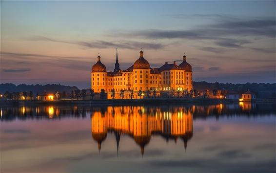 Wallpaper Moritzburg Castle, Saxony, Germany, water reflection, night, lights